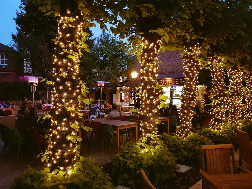 A photo of the fairy-light-lit garden at The Eagle